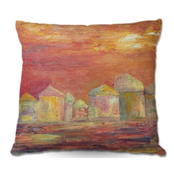 DiaNoche Designs - Pillow Woven Poplin by Dora Fichers Orange Sky - Toss this decorative pillow on any bed, sofa or chair, and add personality to your chic and stylish decor. Lay your head against your new art and relax! Made of woven Poly-Poplin.  Includes a cushy supportive pillow insert, zipped inside. Dye Sublimation printing adheres the ink to the material for long life and durability. Double Sided Print, Machine Washable, Product may vary slightly from image.