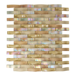 Ripple Autumn Glass Mosaic - Dynmaic stream of natural colors integrate with natural limestone and travertine, light and airy.