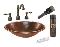 Premier Copper Products - Oval Self Rimming Copper Sink w/ ORB Faucet - PACKAGE INCLUDES: