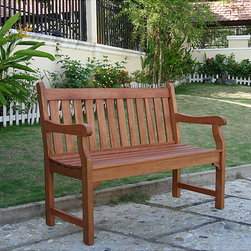 Vifah - Henley 2-Seater Eucalyptus Wood Outdoor Bench - This attractive outdoor bench is crafted from premium-grade eucalyptus hardwood. Similar to teak in durability, this weather- and insect-resistant wood bench will be enjoyed for years to come.