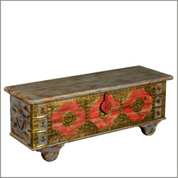 Asian Golden Treasure Reclaimed Wood Standing Coffee Table Chest - You'll find the gold on the outside of our Asian Golden Treasure Standing Chest. This handmade multi-use storage box is constructed with reclaimed wood from Gujarat.