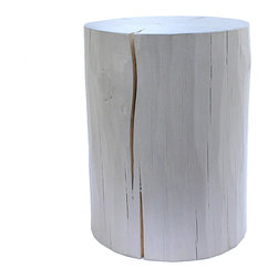 Pfeifer Studio - Painted Wood Stool - This stool, particularly in the cool dove-gray color, manages to marry rustic and minimalist style to great effect. Why not use a trio of different sizes as eye-catching side tables in your living room?