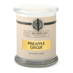 Pineapple Ginger Signature Glass Jar Candle - Like being transported to a pineapple farm in the rich lush tropical island of Hawaii, the Pineapple Ginger soy candles deliciously sweet fragrance fills any room with a light tropical feeling reminiscent of a warm day in Summer. With just a touch of spicy ginger as an additional scent note, this fragrance will envelope the room in a beautiful scent without being overpowering.