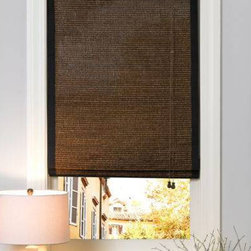 Premier Woven Wood Shades - Pictured in Aruba Earth with decorative cloth tapes.