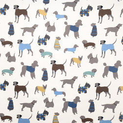 Doggy Days Fabric - Here's another way to add to a room and make a theme without going overboard. Simple window treatments made from this precious dog fabric would do just the trick! I plan to use this in my little boy's room.
