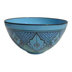 Le Souk Ceramique - Sabrine Deep Salad Bowl - 12 in. wide. 6 in. deep. Hand Painted . Hand Made . Dishwasher safe . Microwave safe . Made in Tunisia. Lead free glazes . Meets CA Prop 65 . Meets all Federal StandardsIt seems we've captured the color straight from the sea! Soothing in cool, watery turquoise, our Sabrine pattern represents everything we love about art in pottery. A contemporary take on tradition, Sabrine displays intricate details of the fusion of the Spanish-Moorish art form. With artistic elements of the intersecting arches embellished with spots of color, our Sabrine pattern inspires thoughts of ancient at and architecture in a lavish dinnerware collection.