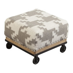 "Surya - Ivory and Taupe Houndstooth Ottoman by Surya - The soft contrast of ivory and taupe gets a trendy update in a hounds tooth pattern of 100% wool. The well upholstered wood base ottoman owns an urban chic quality with castors in place of legs. Compact proportions make this suitable for multiple locations. (SY) 16.8"" square x 11.6"" high"
