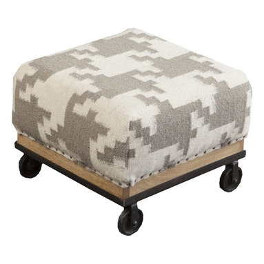"""Surya - Ivory and Taupe Houndstooth Ottoman by Surya - The soft contrast of ivory and taupe gets a trendy update in a hounds tooth pattern of 100% wool. The well upholstered wood base ottoman owns an urban chic quality with castors in place of legs. Compact proportions make this suitable for multiple locations. (SY) 16.8"""" square x 11.6"""" high"""