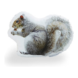 """Central Park Squirrel Pillow - Handmade in Brooklyn, this quirky """"couch art"""" pillow is decorated with an original photograph of a squirrel in Central Park, and then printed on cotton sateen, hand stuffed and sewn onto black cotton-twill fabric. Fun fact: the Central Park Menagerie reintroduced squirrels into the park after the threat of the early 1800s' deforestation and urbanization on the lives of these beloved creatures, and to this day they continue to flourish. Now you can introduce a squirrel into your home (with no risk of fleas)."""