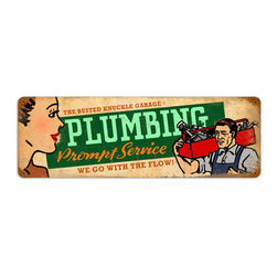 Plumbing Service Metal Sign Wall Decor 24 x 8 - Plumbing Service Metal Sign Wall Decor From the Busted Knuckle licensed collection, this Plumbing Service vintage metal sign measures 24 inches by 8 inches and weighs in at 2 lb(s). This vintage metal sign is hand made in the USA using heavy gauge american steel and a process known as sublimation, where the image is baked into a powder coating for a durable and long lasting finish. It then undergoes a vintaging process by hand to give it an aged look and feel. This vintage metal sign is drilled and riveted for easy hanging.