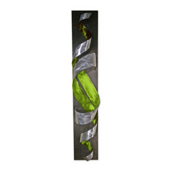 Tornado - Modern Abstract Metal Decor Wall Art Sculpture, Green - This is an original hand crafted and hand painted sculpture made from high quality metal with a wooden base. It is perfect for displaying anywhere in your home or business and can be flipped horizontally or vertically - ready to hang. It is a great way to fill your space with a modern masterpiece. The sculpture changes shape with every angle that it is viewed from.