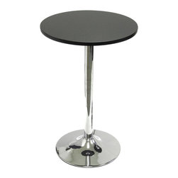 Winsome Wood - Contemporary Bistro Tea Table w Round Black T - A metal base with the high gloss look of chrome gives this modern bistro table a retro appeal that will be a stylish addition to your home's decor. The table's striking look is enhanced by an MDF top in smooth black finish. Coordinating chairs are sold separately. Made of MDF. Black/Metal finish. Metal Legs. Some assembly required. 19.7 in. W x 19.7 in. L x 29.5 in. H