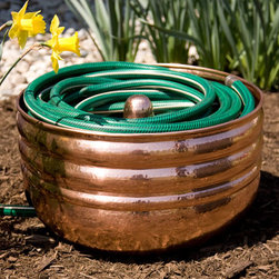 Hammered Polished Copper Hose Pot - Without Lid - Add charm to your garden and conceal an unsightly hose with this stunning Hammered Polished Copper Hose Pot. Handcrafted from solid copper, this hose pot features a beautiful polished finish.
