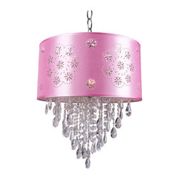 Joshua Marshal - 1 Light Crystal Pendant Light in Chrome Finish with Pink Shade and Crystal - Hanging from the ceiling, a pink cord flows down to a chic shade, followed by beautiful European crystals in the middle of this stunning fixture.