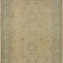 "ALRUG - Handmade Beige/Camel Oriental Oushak Rug 5' 2"" x 6' 8"" (ft) - This Afghan Oushak design rug is hand-knotted with Wool on Cotton."