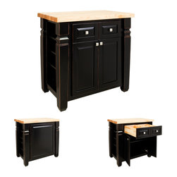 "Hardware Resources - Lyn Design ISL12 Kitchen Island, Aged Black - This 34"" x 22"" x 34-1/4"" furniture style island with adjustable shelves on both ends is manufactured using the highest quality furniture grade hardwoods and MDF. The island features two deep working drawers and large cabinet with adjustable shelf on one side and blank panel on the reverse. Drawers are dovetail solid hardwood and are mounted on undermount full extension soft close slides and the cabinet features integrated soft close hinges. Jeffrey Alexander decorative hardware, 431SN, is included with this item. Similar post, P34, is available in our carved wood collection. French White finish is applied by hand. 1-3/4"" hard maple edge grain butcher block top sold separately, (ISL10-TOP - 36"" x 24"")"