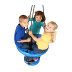 Swing-n-Slide - Vortex Ring Swing - Come take a spin on the Vortex Ring Swing, a unique take on the standard tire swing. One or more kids can sit on the large ring or stand on the lower platform, and use their momentum to experience a new world of swinging, spinning excitement. The Vortex helps build increased strength and coordination, and adjusts to fit the height of your child. Features: -Vortex ring swing. -Unique, fun, and multi-child friendly that attaches to cantilevered swing beam with a heavy-duty swivel hange. -Attaches to cantilevered swing beam with a heavy-duty swivel hanger. -Standing and swinging increases child strength and coordination. -Bottom ring assists child in climbing into ring for standing or sitting, much easier to securely access versus a traditional tire swing. -Meets and/or exceeds American society of testing materials (ASTM) safety standards. -Single child can stand securely on the foot platform while parent/playmate spins and pushes. -Two or three children can sit together while spinning and swinging. -For private backyard use only. -Do not use in public settings.