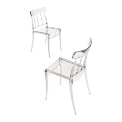 Bonaldo - GIUSEPPINA Stacking Side Chair, Clear - Stacking chair with classic lines made of transparent glossy polycarbonate or coloured glossy polyamide, gas injection moulded in a single piece. Stable, comfortable and resistant to the weather.