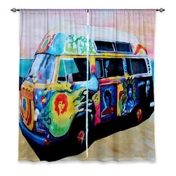 """DiaNoche Designs - Window Curtains Lined by Markus Bleichner Here Comes the Sun Volkswagon - DiaNoche Designs works with artists from around the world to print their stunning works to many unique home decor items.  Purchasing window curtains just got easier and better! Create a designer look to any of your living spaces with our decorative and unique """"Lined Window Curtains."""" Perfect for the living room, dining room or bedroom, these artistic curtains are an easy and inexpensive way to add color and style when decorating your home.  This is a woven poly material that filters outside light and creates a privacy barrier.  Each package includes two easy-to-hang, 3 inch diameter pole-pocket curtain panels.  The width listed is the total measurement of the two panels.  Curtain rod sold separately. Easy care, machine wash cold, tumble dry low, iron low if needed.  Printed in the USA."""