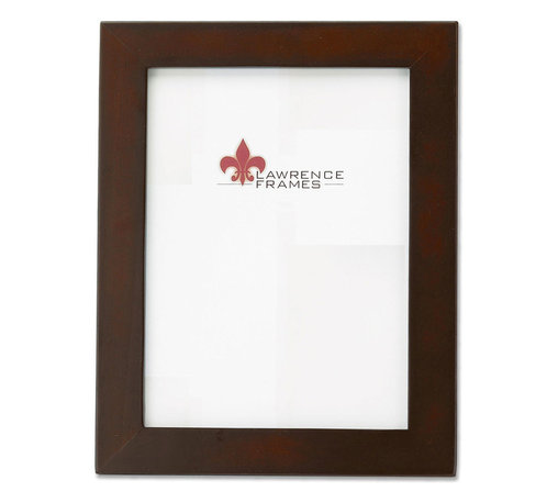 Lawrence Frames - Walnut Wood 8x10 Picture Frame - Contemporary walnut brown wood picture frame.  High quality black wood backing with an easel for vertical or horizontal table top display, and hangers for vertical or horizontal wall mounting.    Hand finished 8x10 wood picture frame is made with exceptional workmanship and comes individually boxed.