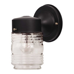 Savoy House - Savoy House 07046-Blk Exterior Collections Jelly Jar Wall Mount - Savoy House 07046-BLK Exterior Collections Jelly Jar Wall Mount