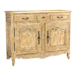 French Heritage - Mirambeau Buffet - Curvy and capacious, this French country-inspired buffet is anything but provincial. It's made of ash with drawers, two drawers and carved details, finished in a distressed white and gold finish. Inside, there's plenty of space to store dishes, linens or entryway essentials.