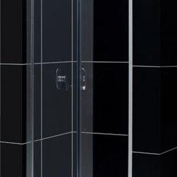"DreamLine - DreamLine DL-6130C-01CL Butterfly Shower Door, Base & Backwalls - DreamLine Butterfly Frameless Bi-Fold Shower Door, 36"" by 36"" Single Threshold Shower Base and QWALL-5 Shower Backwall Kit"