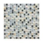 "Glass & Stone Mosaic - Ceramic Tileworks - Bliss Glass & Stone Mosaic Tile - 5/8""x5/8"" Silver Aspen"