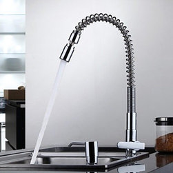 Kitchen Sink Faucets - Contemporary Chrome One Hole Single Handle Kitchen Faucet--FaucetSuperDeal.com