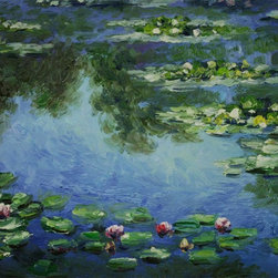 overstockArt.com - Monet - Water Lilies - Hand painted oil reproduction of a famous Monet painting, Water Lilies. Today it has been carefully recreated detail-by-detail, color-by-color to near perfection. While Monet successfully captured life's reality in many of his works, his aim was to analyze the ever-changing nature of color and light. Known as the classic Impressionist, one cannot help but have deep admiration for his talent. This work of art has the same emotions and beauty as the original. Why not grace your home with this reproduced masterpiece? It is sure to bring many admirers!