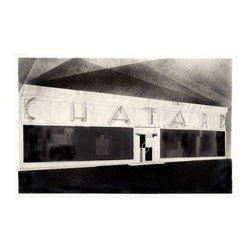 Pre-owned Chatard - Unframed Small - This print is of an art deco facade, one of a series of architectural renderings by an unknown artist originally created circa 1925 Paris, France. The design was for the Chatard tailor shop to be located at 16 Boulevard Montmartre, a prime location on a grand boulevard in Paris. Notations on the rendering indicate the facade as a white stainless steel.     ‰Ű˘ Limited edition of 100 giclee prints   ‰Ű˘ Archival inks and archival paper  ‰Ű˘ Hand finished wood frame with non-glare acrylic picture glass  ‰Ű˘ Dimensions listed are of the print size only and do not include the frame size    Print is also available in the following sizes, framed and unframed. Please contact support@chairish to inquire.    ‰Ű˘Chatard - Unframed Large - 35.0ćĽW ĚŃ 1.0ćĽD ĚŃ 23.0ćĽH - $450  ‰Ű˘Chatard - Framed Small - 22.0ćĽW ĚŃ 1.0ćĽD ĚŃ 14.5ćĽH - $450  ‰Ű˘Chatard - Framed Large - 35.0ćĽW ĚŃ 1.0ćĽD ĚŃ 23.0ćĽH - $775