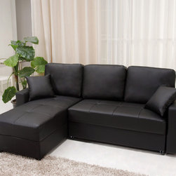 None - Aspen Black Convertible Sectional Storage Sofa Bed - Go for a simple yet elegant modern look in your living room or den with the stylish aspen black convertible sectional sofa bed. This handsome leatherette contemporary sofa conveniently doubles as a bed for unexpected guests.