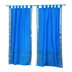 Indian Selections - Pair of Blue Tab Top Sheer Sari Curtains, 60 X 120 In. - Size of each curtain: 60 Inches wide X 120