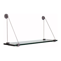 """Expo Design Inc - Cable Shelf Kit, 6""""x36"""" - Tempered glass shelf pre packaged with a set of Cable Shelf Brackets."""