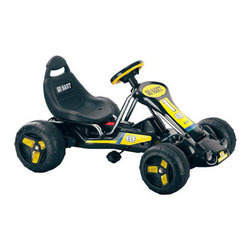 """Lil' Rider - Stealth Pedal Powered Go - Kart in Black - Kids on-the-go will have a blast with this incredible Black Stealth Pedal Power Go-Kart! From its high-backed bucket seat to its low-riding comfort, this baby is packed with delightful touches. Kids get a great work out while peddling around and can make their own speed. Kids can ride this Go-Kart on hard surfaces and grass! It has all the great looks and style the battery operated Go-Karts have but gives kids more control. Now you can race your friends or be the sidewalk king with one of the coolest Go-Karts around. Features: -Toy. -Material: Plastic and Carbon Steel. -Colors: Black with Yellow Decals. -Bucket Seat with high back. -Washable tires. -Age: 3 - 7 years. -Max weight: 55 lbs. -Warranty: 60 day Distributor. Dimensions: - 20"""" H x 25"""" W x 37"""" D, 23 lbs."""