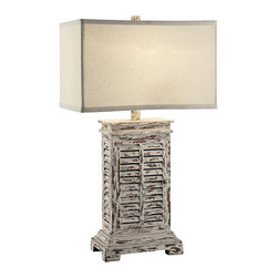 "Lamps Plus - Country - Cottage Crestview Collection Antique Shutter Table Lamp - Antique Shutter vintage inspired table lamp. Antique gray wash finish. Cast resin construction. Natural linen shade. Maximum 150 watt or equivalent bulb (not included). 3-way rotary switch. 31"" high. Base is 19"" high. Shade is 18"" wide and 12"" deep across the top 18"" wide and 12"" deep across the bottom 11"" high. Base is 10 1/2"" by 6 1/2"".       Antique Shutter vintage inspired table lamp.  Antique gray wash finish.  Cast resin construction.  Natural linen shade.  Maximum 150 watt or equivalent bulb (not included).  3-way rotary switch.  31"" high.  Base is 19"" high.  Shade is 18"" wide and 12"" deep across the top 18"" wide and 12"" deep across the bottom 11"" high.  Base is 10 1/2"" by 6 1/2""."