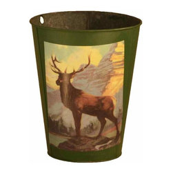 Green Wastecan - Metal waste can/bucket with large vintage-inspired buck and mountain print.
