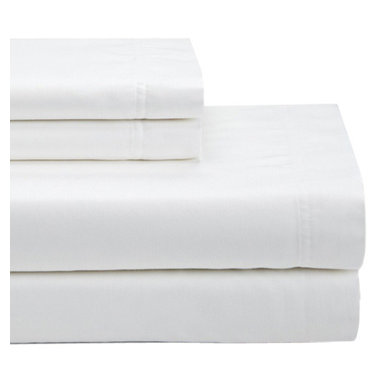 SNS LINENS INC - White 550-Thread Count Egyptian Cotton Deep-Pocket Sheet Set - Wrinkle-free fabric maintains its elegance, while smooth, Egyptian cotton-blend construction provides inviting comfort. �� Includes flat sheet, fitted sheet and two pillowcases Fits mattresses up to 18'' deep 55% cotton / 45% polyester 550-thread count Machine wash; tumble dry Imported