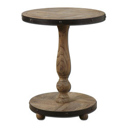 Weathered Natural Wood Round Table - *Solid, natural fir wood weathered and sanded smooth with aged black metal banding.