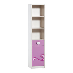 """Cilek - Princess Bookcase - Princess bookcase with suitable sizes is great for small rooms and has a very functional design with the cute drawer and door compartment. Princess bookcase is great addition to """"Pretty in Pink"""" collection."""