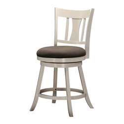 "Acme - Tabib Collection White Finish Wood Counter Height Swivel Bar Stool - Tabib collection white finish wood counter height swivel bar stool with padded seating. Stool measures 24""H to the seat. Some assembly required."