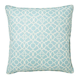 Jiti - Jiti Moroccan Blue 20 x 20 Square Outdoor Pillow - 2020/OUT/P/P-MOR-BLU - Shop for Cushions and Pads from Hayneedle.com! Up the comfort level - and style - of your patio set with the Jiti Moroccan Blue Square Outdoor Pillow. Featuring a lively Moroccan-style pattern this light blue and white pillow is made in the USA with a 100% polyester cover and comfortable polyester insert. Dusty back yard? No problem. Just toss this outdoor pillow in the wash to keep it clean and ready for company.About Jiti Pillows:Jiti has a wide range of bedding and accent pillow products so you're sure to find the perfect complement for your home decor in their line. The company is based in Los Angeles California and all of their products are proudly made in America. Using luminous colors rich patterns and varied textures Jiti creates products that can help you give your room an exotic makeover in minutes. Goga Bouquet Jiti's designer gets her inspiration from her Argentine heritage and her fascination with Indian culture. The result is beautiful exotic pieces that still have a modern feel.