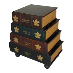 ecWorld - Classic 4-Drawer Antiqued Faux Leather Book Series Chest Cabinet Accent Table - This unique cabinet features hand-finished volumes that create a wooden work of furniture art. Faux leather books with authentic metal pulls slide out to reveal four drawers that offer plentiful storage next to a bed, comfortable chair or in an entryway. This clever addition to any room is truly part fun and part function and it is the perfect accent to uplift any room decor.