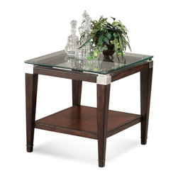 Bassett Mirror - Dunhill Rectangular End Table - Simple yet stately, this contemporary end table features a scratch-resistant glass top with smooth, polished edges. Each corner is capped in gleaming satin nickel, and the parquet oak shelf adds space for storing magazines, books or other items.