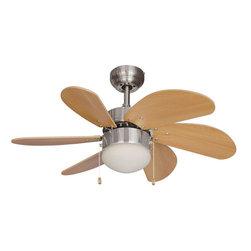 "Builder's Collection - Satin Nickel 30"" Ceiling Fan w/ Light Kit - Motor Finish: Satin Nickel"
