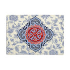 Blue & Red Ribbon-Embellished Medallion Custom Placemat Set - Is your table looking sad and lonely? Give it a boost with at set of Simple Placemats. Customizable in hundreds of fabrics, you're sure to find the perfect set for daily dining or that fancy shindig. We love it in this intricate sky blue & ruby red ribbon-embellished medallion. it's tradition with a twist.