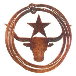 "Lazart - Western Metal Wall Art Lariat ""Lone Star Steer"" - Our  Lone  Star  Steer  metal  wall  art  is  circled  by  a  lariat  worthy  of  any  ropin'  cowhand.  Carefully  lacer  cut  from  steel,  this  western  metal  wall  art  has  a  weathered  leather  finish  that  adds  a  warm  bit  of  color  with  a  leathery  looking  texture.  The  finish  is  heat  bonded  for  many  years  of  durable  wear  and  the  design  theme  is  a  great  addition  to  any  ranch  house,  western  cabin  or  hacienda.  A  wonderful  way  to  bring  more  of  the  old  west  into  your  decor.            Click  for  more  western  and  cowboy  metal  wall  art.                  Classic  Lone  Star  and  Steer  designs              Weathered  Leather  finish  has  the  appeal  of  worn  leather  with  a  rich  patina              Laser  cut  precision  with  a  special  heat  transfer  finishing  process"