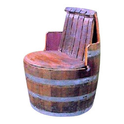 "Master Garden Products - Wine Barrel chair with arm and back rest - Recycling is one way to help conserve our natural resources.  These used wine oak chairs are are made from authentic recycled wine barrels and is suitable for the indoors and outdoors.  Designed for comfortable seating, the diameter of the seat is  27"" wide, the depth 18', and the arm rest is 8"" off the seat level making the over all height  35""."