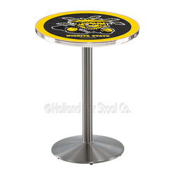 Holland Bar Stool - Holland Bar Stool L214 - Stainless Steel Wichita State Pub Table - L214 - Stainless Steel Wichita State Pub Table belongs to College Collection by Holland Bar Stool Made for the ultimate sports fan, impress your buddies with this knockout from Holland Bar Stool. This L214 Wichita State table with round base provides a commercial quality piece to for your Man Cave. You can't find a higher quality logo table on the market. The plating grade steel used to build the frame ensures it will withstand the abuse of the rowdiest of friends for years to come. The structure is 304 Stainless to ensure a rich, sleek, long lasting finish. If you're finishing your bar or game room, do it right with a table from Holland Bar Stool. Pub Table (1)