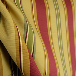 Waverly - Epic Tales Ruby Waverly Stripe Gold Red Fabric By The Yard - Waverly fabric Epic Tales in the color Ruby is a heavy cotton stripe fabric. Great for window treatments, light upholstery, bedding and pillows.
